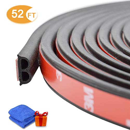 Loobani Car Weatherstrip Rubber Strip Seal for Automotive Doors Window Engine Cover (B-Shape, 52 Ft (2 Packs))