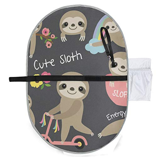 Baby Sloth Waterproof Baby Changing Pad, Portable Diaper Changing Pad, Diaper Bag Mat, Foldable Travel Changing Station | Stroller Strap,Side Pocket for Wipes Diaper| for Infants & Newborns