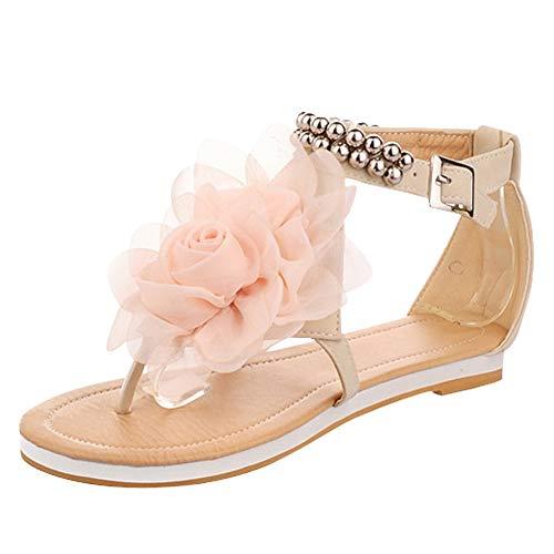 - New Summer Fashion Flower Beaded Women's T Strap Sweet Flats Sandals Shoes (8, Beige)