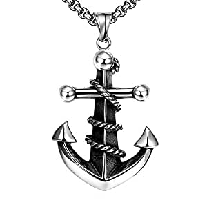 SDLM Handsome Costume Jewelry Modern Titanium Steel Anchors Pendant Necklace for Mens
