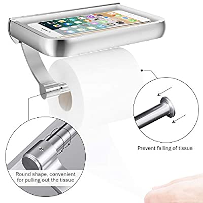 Homemaxs Toilet Paper Holder, Anti-Rust Aluminum Toilet Roll Holder with Large Space Shelf for All Mobile Phone, Wall Mounted Tissue Holder for Bathroom