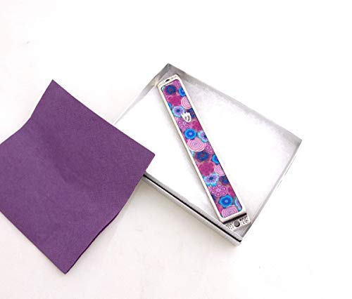 Mezuzah Case, Handmade Floral Mezuzah Cover With Kosher Scroll made of Silver Plated and Polymer Clay, Great as Bat Mitzvah and Hostess Gift (Silver Plated Classic Scroll)