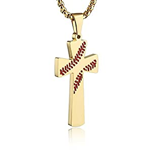 """Best Epic Trends 41I31FQpWEL._SS300_ HZMAN Baseball Cross Pendant, I CAN DO ALL THINGS STRENGTH Bible Verse Stainless Steel Necklace 22+2"""" Chain"""
