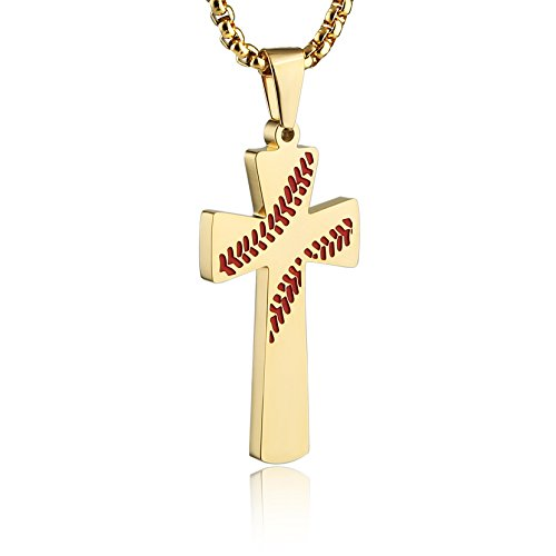 HZMAN Baseball Cross Pendant, I CAN DO All