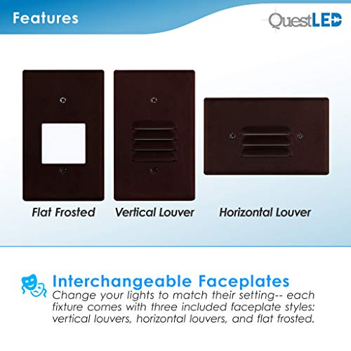 LED 2W Step Light Bronze Finish (24 Pack) Interchangeable Plate Flat Frosted (Horizontal Louver/Vertical Louver) 10 YR Warranty; Waterproof; Dimmable; 120V; 150 Lumnes (Soft White 2700K) by Quest LED (Image #3)
