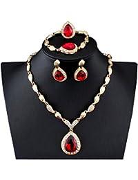 Crystal Teardrop Pendant Gold Plated Necklace Earrings Bracelet Ring Set