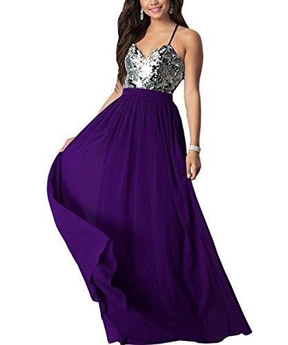 Ruiddin Halter Prom Dresses Long 2018 Spaghetti Strap Sequins Chiffon Bridesmaid Dress Indigo Size (Indigo Satin Bridesmaid Dress)