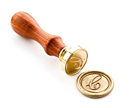 VOOSEYHOME Initial Handwritten Letter Alphabet C Wax Seal Stamp with Rosewood Handle - Ideal for Decorating Gift Packing, Envelopes, Parcels, Letters, Cards, Books, Invitations, Signature etc.