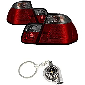 BMW E46 3-Series 4Dr (does not include red fog light bulb) Tail Lights Red And Smoke Lens+Free Gift Key Chain Spinning Turbo Bearing