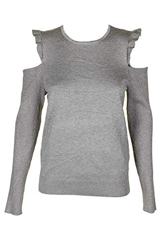 Metallic Ribbed Sweater - Dkny Grey Silver Metallic Ruffled Cold Shoulder Ribbed Knit Sweater L