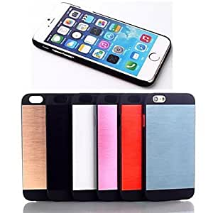TOPQQ ships in 48 hours Brushed Metal PU Leather Cover for iPhone 6 (Assorted Colors) , Blue