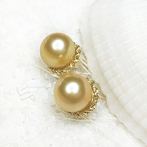 Golden Pearls In 18KT Gold Earrings, AAA Grade Golden Pearls In Solid Gold Stud Earrings, South Sea Cultured Pearl And Yellow Gold Studs