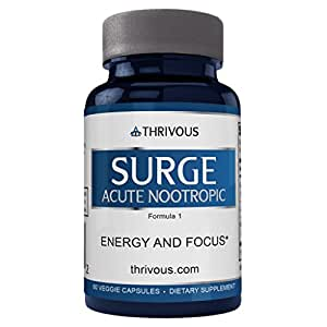 Thrivous Surge Acute Nootropic - Enhance Energy and Focus - Caffeine, L Theanine, and Panax Ginseng