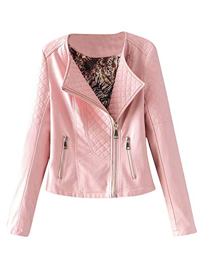 Kasen Lunga Pelle Ecopelle Zip Finta Con Pink Giacca In Giubbino Giubbotto Corta Donna Manica Iq8APIvwgr