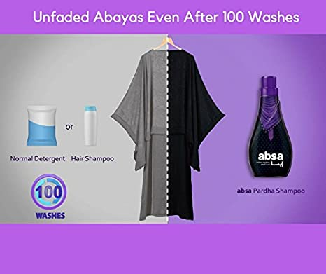 Absa Hijab&Abaya Shampoo - Ultimate protection for Satin,Rayon,Lace, Lycra  and dark coloured clothing with refreshing scent-500 ML