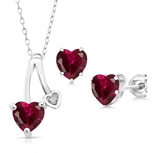 Gem Stone King 2.90 Ct Heart Shape Red Created Ruby 925 Sterling Silver Pendant Earrings Set