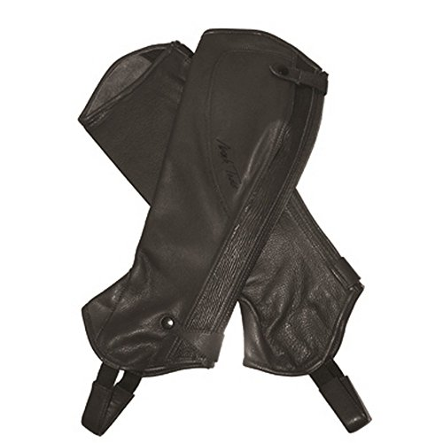 Mark Todd Adults Tall Close Fit Leather Half Chaps (M) (Black) (Chaps Schooling Leather)