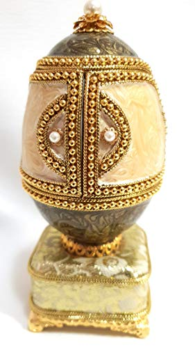 Rare Faberge Egg Authentic Musical Goose Egg & Quail Egg Faberge Jewelry Box faberge Proposal Ring Box Hand Crafted wtih Simulated Pearls emblelished with 22ct Gold Collectible faberge Ring Box Egg ()