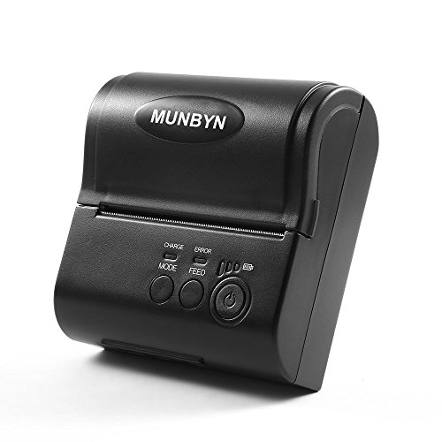 Wireless Mobile Thermal Receipt Printer Bluetooth Micro-USB MUNBYN 80MM Printer Compatible with Android iPhone iPad with 2000 mAh Rechargeable Battery POS Software Supported ESC/POS Command by MUNBYN
