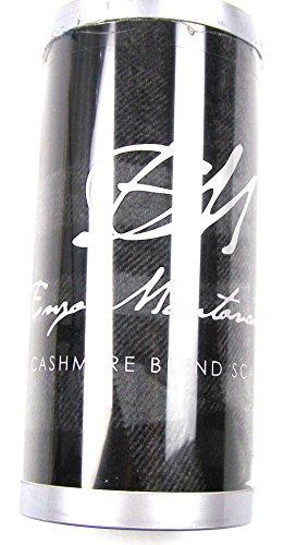 Enzo Mantovani Wool Cashmere Blend Scarf BLACK PLAID 12″ W x 62″ L