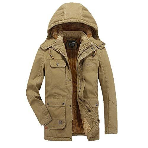 Coat Thickened Coat Mens Parka Sleeve Long Khaki with Outerwear Huixin Jackets Apparel Zipper Jackets with Drawstring Jacket BqAZZUnW