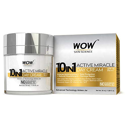 WOW 10 in 1 Active Miracle Day Cream with SPF 15 PA++ and Infused Shea & Cocoa Butter,Hydrolysed Collagen,Vitamin E, C & B5-50mL