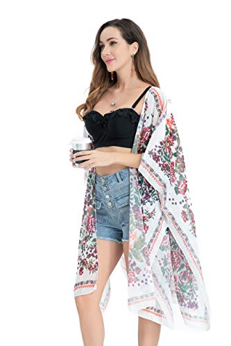 URqvick Kimono Cardigan with Bohemian Floral Print Sheer Chiffon Casual Loose Open Front Cover Up Tops Dark Purple