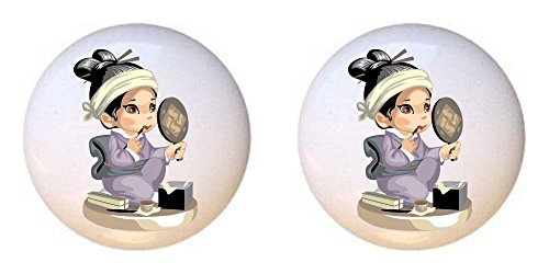 SET OF 2 KNOBS - An Asian girl putting on makeup while looking in the mirror - Asian - DECORATIVE Glossy CERAMIC Cupboard Cabinet PULLS Dresser Drawer KNOBS