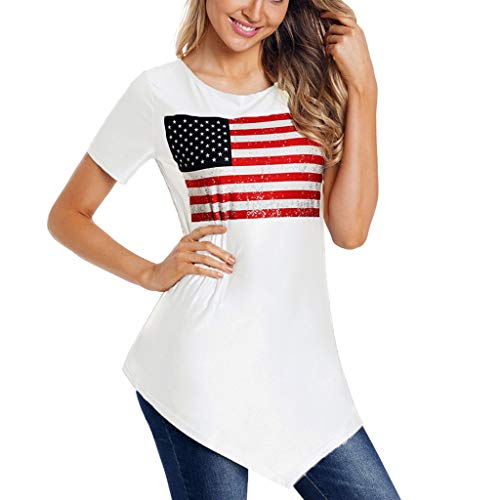 GHrcvdhw Women's Short Sleeve Asymmetric Hem T-Shirt Flag Print Tops for 4th of July Independence Day Blouse and Top White