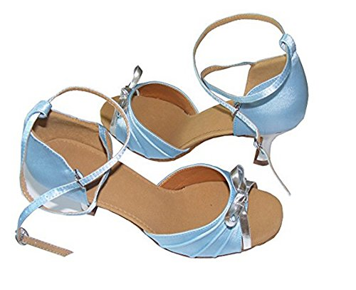 Sky blue shoes satin Latin Ballroom dance Silver Women Bow C5qTwT