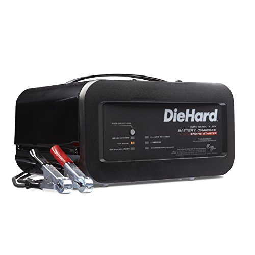 DieHard 71323 Shelf Smart Battery Charger Engine Starter (12 Volt 2/6A Charge 10A Boost 50A)