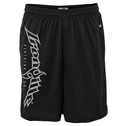 (Ironville Gym Weightlifting Shorts Vertical Logo (L, Black))