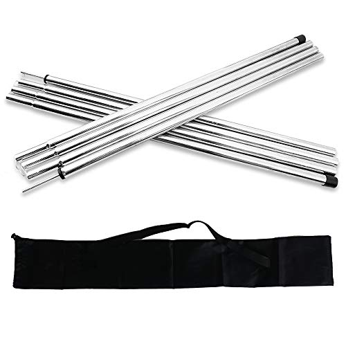 Acenilen Replacement Tent Poles - Set of 2, Adjustable Galvanized Rods for Camping Tarps, Shelters, Hiking, Backpacking, Portable Tent Poles Rods