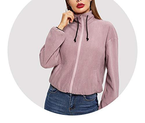 Pink Zip Up Drawstring Detail Teddy Casual High Neck Plain Jackets 2019 Elegant Women Coat Outerwear,Pink,S (Headers Factory)