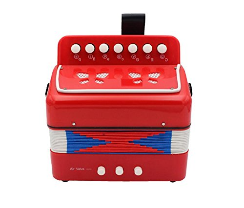 Junson Mini Accordion Musical Intellectual Development Toy for Kids-Red