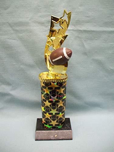All Star Football Theme Topper Black and Gold Star Column Black Wood Base Trophy (Gold Trophy Column)