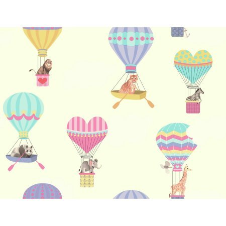 York Wallcoverings GK8964 Growing Up Kids Take To The Air Removable Wallpaper, White/Pink/Yellow/Aqua/Purple/Red/Black/Brown/Grey