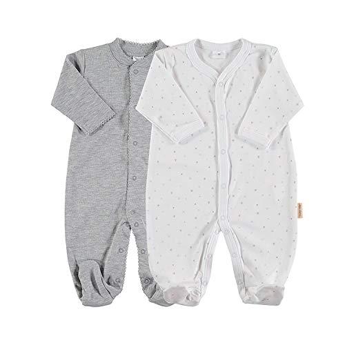 Petit Oh! Pack de 2 Pijamas de Manga Larga para beb/é 100/% algod/ón Pima Talla 3-6 Meses Color Estrella Celeste y Topo Celeste