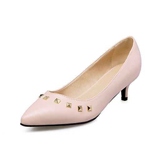 Luccichio Tirare Medio Donna Punta Ballet Rosa Tacco VogueZone009 A Scarpe Flats Puro HIqRF75