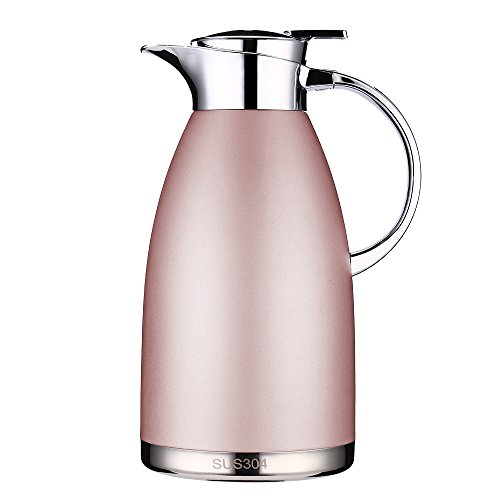 Pink Carafe - Coffee Thermos Stainless Steel 64 Ounce Thermos Large Travel Bottle Vacuum Insulated Coffee Carafe - Pink