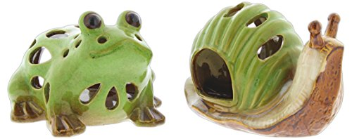 Set of 2 Special T Imports Ceramic Frog and Snail Tea Light Candle Holders