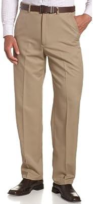 Haggar Mens Cool 18 Hidden Expandable-Waist Plain-Front Pant