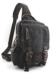 Jiao Miao Canvas Shoulder Backpack Travel Rucksack Sling Bag Cross Body Messenger Bag,180308-black