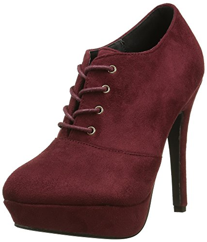 Angkorly - damen Schuhe Stiefeletten - Low boots - Stiletto - Plateauschuhe Stiletto high heel 12 CM - Burgunderrot