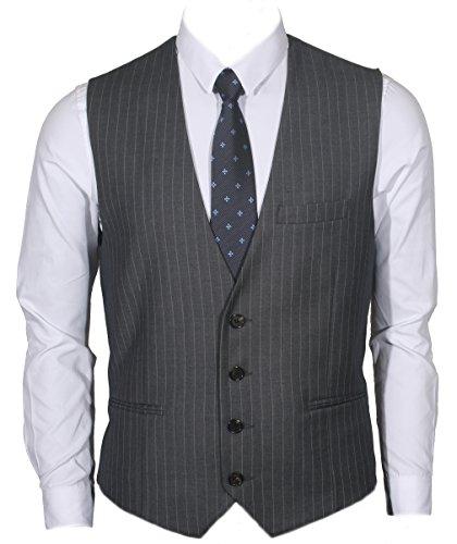 Ruth&Boaz Men's 3Pockets 4Button Business Suit Vest (XS, CHARCOAL PIN STRIPE)