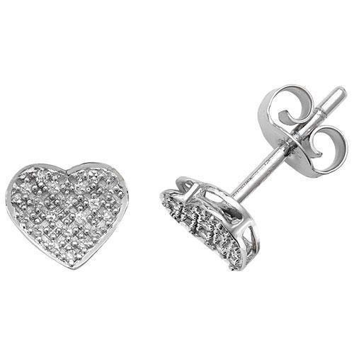 Diamant Boucles d'oreilles coeur-Or Blanc 9Carats SC Si 38D 0,10C