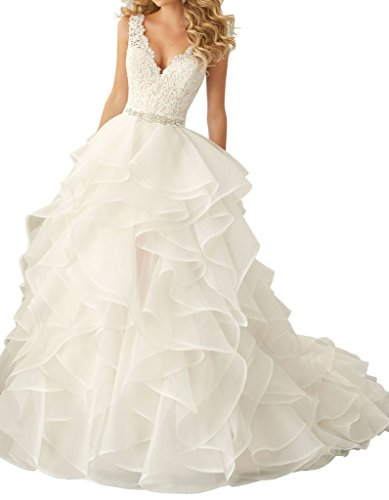 Dressylady Gorgeous V Neck Backless Lace Appliques Ruched Organza Wedding Dress for Bride(24w)