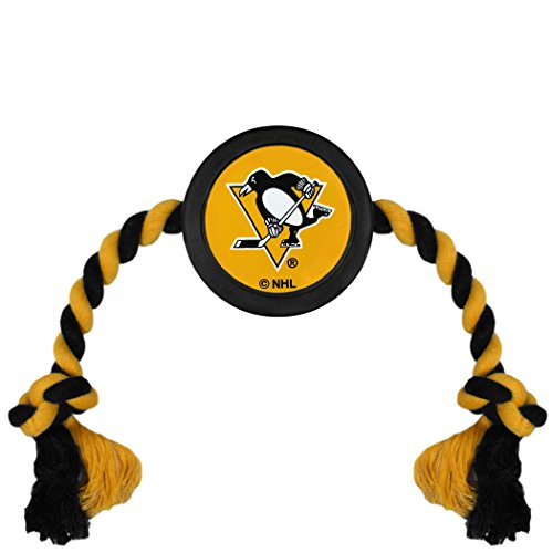 (NHL Pittsburgh Penguins Puck Toy for Dogs & Cats. Play Hockey with Your Pet with This Licensed Dog Tough Toy Reward!)