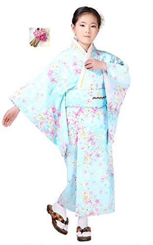Halloween party women's kimono costume 【120㎝Lily of flowers light blue】 Ideal for gifts (Halloween Costume Using Umbrella)