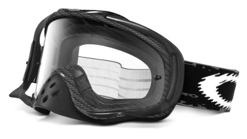 Oakley Crowbar Graphic Frame MX Goggles (True Carbon Fiber Frame/Clear Lens, One - Fiber Goggles Oakley Carbon
